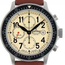 Askania Taifun Stahl Automatik Chronograph Armband Leder 42mm...