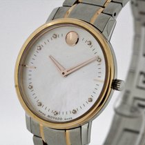 Movado Museum Watch Ladies Stainless Steel 18K Gold MoP Dial...
