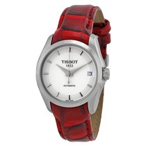 Tissot T-Trend Couturier White Dial Red Leather Ladies Watch