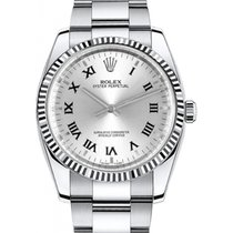 Rolex Oyster Perpetual 34 115234-SLVRFO Silver Roman Fluted...