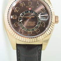 Rolex Sky-Dweller Rose gold,Leather Strap, Choco Dial,Full Set