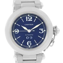 Cartier Pasha C Midsize Steel Blue Dial Watch Big Date W31047m7