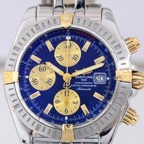 Breitling Chronomat Evolution Stahl Gold blue dial Pilotband...