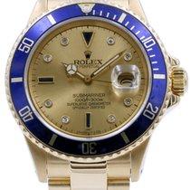 Rolex Submariner 16808 Men's 40mm Serti Champagne Blue...