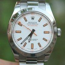 Rolex Mens Milgauss Steel 116400 40mm White Orange Dial Oyster...