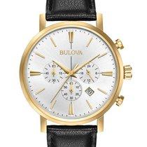 Bulova Mens Classic Chronograph - Gold-Tone Case - Leather...