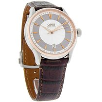 Oris Artelier Series Mens Brown Leather Swiss Automatic Watch...