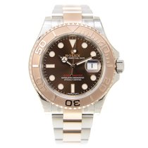 Rolex Yacht Master 18k Rose Gold And Steel Brown Automatic...