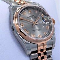 Rolex Datejust 116201 36mm 18k Pink Gold /ss Roman Gray Dial...