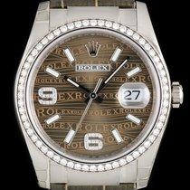 Rolex 18k W/G Unworn Brown Wave Dial Datejust Gents B&P...