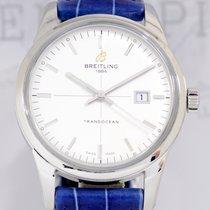 Breitling Transocean Stahl 43mm silver dial Klassiker Dresswat...