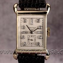 Longines 1944 Tank-style 14kt. Gold Watch With Diamonds...