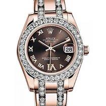 Rolex Pearlmaster 34 81285 Chocolate Roman Diamond Bezel VI...