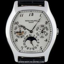 Patek Philippe Platinum Silver Dial Tonneau Perpetual Calendar...