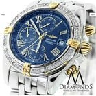 Breitling B13055 Gold/stainless Steel Watch With Diamond Bezel...