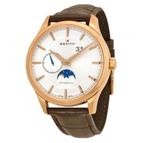 Zenith Captain Moonphase Silver Dial 18kt Rose Gold Mens Watch...