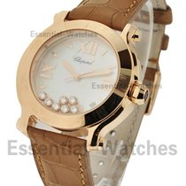 Chopard 277471-5002 Happy Sport Round in Rose Gold - on Brown...