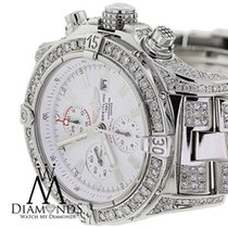 Breitling Super Avenger White A13370 Covered Over 13ct Diamond...