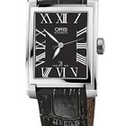 Oris Rectangular 30x44 Date, Roman, Black Dial, Leather