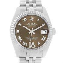 Rolex Datejust Midsize Steel White Gold Brown Diamond Dial...