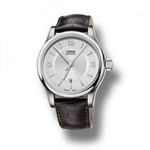 Oris Armbanduhr Leder / silber Classic Date
