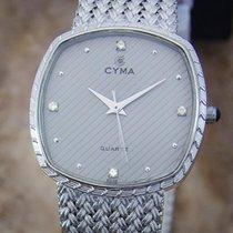 Cyma Swiss Diamond Unisex 1980s Quartz Luxury Stainless 30mm...
