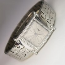 Hermès Hermes Quarz Uhr mit Diamant Zifferblatt in Edelstahl