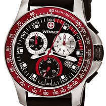 Wenger Battalion Chrono Sport Steel Mens Watch Calendar Rubber...