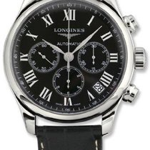 Longines Master Collection Black Leather Stainless Steel Mens...