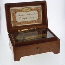 Unsigned Swiss wood and gilt brass musical box playing two...
