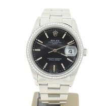 Rolex Date Black dial 34mm steel Aftersetting Diamonds...