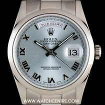 Rolex 18k White Gold O/P Ice Blue Roman Dial Day-Date Gents...