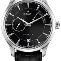Zenith Elite Power Reserve Stainless Steel Black Dial 40mm Watch