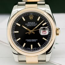 Rolex 116201 Datejust Black Dial Index Markers Oyster SS /...