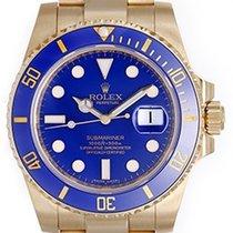 Rolex Submariner 18k Yellow Gold Men's Watch Blue Dial 116618