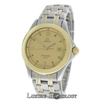 Omega Mint Authentic Men's Seamaster Date 18K Gold &...