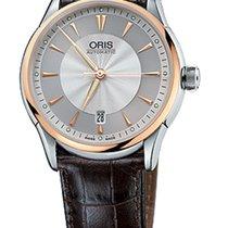 Oris Artelier Date Gold/Steel Brown Leather Bracelet
