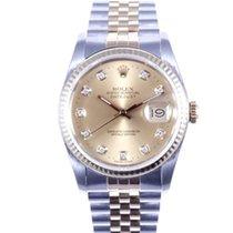 Rolex Mens 18k/SS Datejust w/ Champagne Diamond Dial 16233