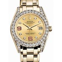 Rolex Pearlmaster 34 81158 Champagne Diamond Set Arabic 6...