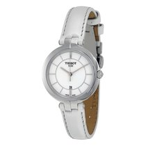 Tissot Flamingo White Dial White Leather Ladies Quartz Watch...