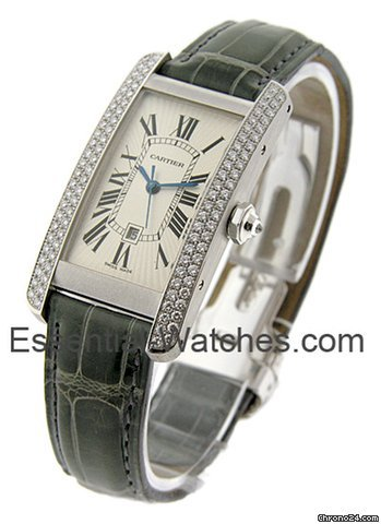 Cartier Tank Americaine / White Gold on Strap
