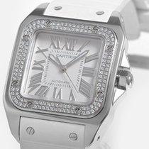 Cartier Santos 100 18K Solid White Gold Diamonds