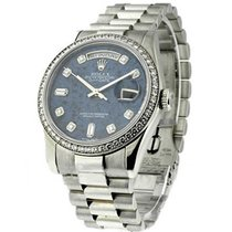 Rolex Used 18346 Mens Platinum President with Diamond Bezel -...