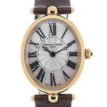 Frederique Constant Art Deco Brown Strap Mother of Pearl Dial...