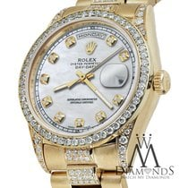 Rolex Presidential Day Date White 36mm Dial Diamond Watch 18...