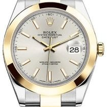 Rolex Datejust 41 126303 Silver Index Yellow Gold Stainless...