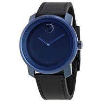 Movado Bold Blue Dial Leather Unisex Watch 3600408