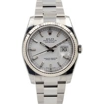 Rolex DATEJUST 36mm Steel & White Gold White Dial 2016