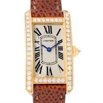Cartier Tank Americaine 18k Yellow Gold Diamond Watch Wb707231