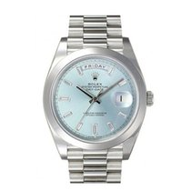 Rolex Day Date Platinum Ice Blue Dial Set With 10 Baguett